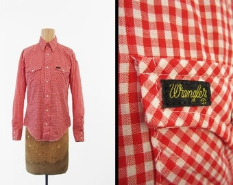 Vintage 60s Wrangler Gingham Shirt Red Check Western Button Up - Small / XS