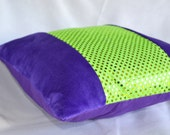 Purple Plush and Green Sequin Pillow Cover