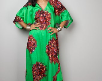 Floral Dress / Green Boho Dress / Kaftan Maxi Dress : Bohemian Kaftan Collection no. 3