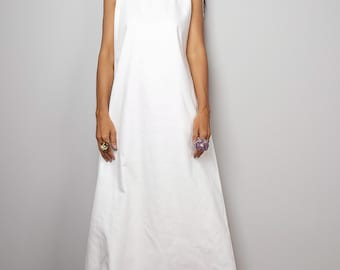 Denim Maxi Dress / Sleeveless White Dress with hood  : The Soul of the Orient Collection No.4