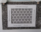 Ultrasound Mat w/ Bible Verse and Optional Frame - Black and White  - Chalkboard Hearst and Damask - Gender Neutral 5x7