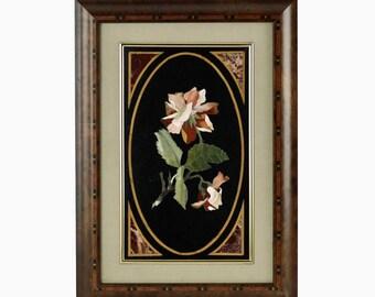 Vintage Italian Florentine Pietra Dura Plaque with Rose Motif in Inlaid Wood Frame
