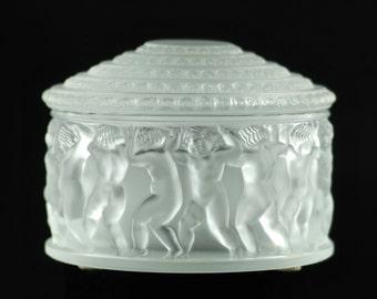 """Vintage Lalique """"Les Enfants"""" Lidded Powder Box"""