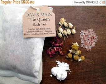 Clearance Sale The Queen Bath Tea with Roses, Pink Salt, Jasmine, Chamomile, and Coconut Milk Powder