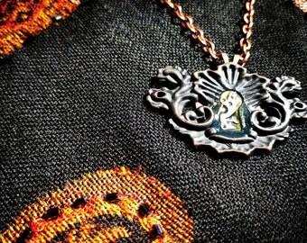 Steampunk Escutcheon Pendant Necklace
