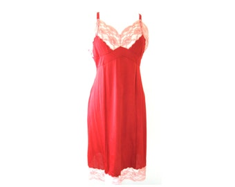 Sassy Red Pink Lace Slip Dress 1960s Size Large