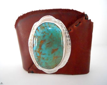 Handmade, Hand stitched, Unlined, Rustic, Southwestern, Brown Leather Cuff, With Handmade Sterling Silver Arizona Kingman Turquoise Setting