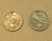 Holed Italy 2 Coin Matching Lot, Pair Italian coins, for collectors craft supply supplies, jewelry making,both are 20 centimos 1910-12, hole