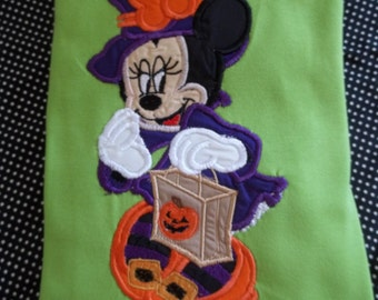 Girl Mouse Witch - Halloween - Short Sleeve Appliqued Tshirt - Infant and Toddler Size Tshirt - 6 months to 5/6