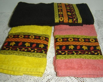 Autumn stripes fall flowers/leaves/berries on yellow, orange or black hand/dish towel, fall autumn decor, 100% cotton terry towel, under 10