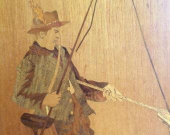 Buchschmid & Gretaux wood inlay marquetry fisherman