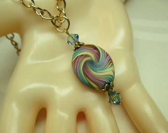 Striped Polymer Clay Pendant Necklace