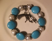 Metal Gun Charm-Turquiose Gemstone -White Pearl- Beaded Stretch BraceletTexan Rodeo- Charm  (136)