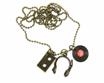 [BUNDLE] 3 set DJ musician chain headphone LP tape bronze