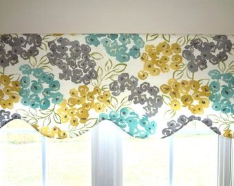 Scalloped Valance Topper Window Treatment 52x15 Robert Allen Luxury Floral Pool  Scalloped Valance