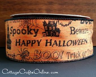 "Halloween Wired Ribbon, 2 1/2"" , Black Halloween Sayings on Orange Heather Linen - THREE YARDS - ""Say Boo"" Wire Edged Ribbon"