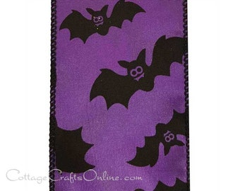 "Halloween Wired Ribbon, 2 1/2"", Black Bats on Purple Satin - THREE YARDS - Offray ""Batty"" Craft Decor Wire Edged Ribbon"