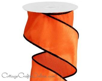 "Halloween Wired Ribbon, 2 1/2"" Orange with Black Edge - TEN YARD ROLL -  ""Pumpkin Silk""  Faux Dupioni, Craft Wire Edged Ribbon"