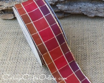 "Plaid Wired Ribbon, 1 1/2"" , Brown, Red Rust, Copper, Gold Metallic - THREE YARDS - Offray ""Monroe"" Fall Check Wire Edged Ribbon"