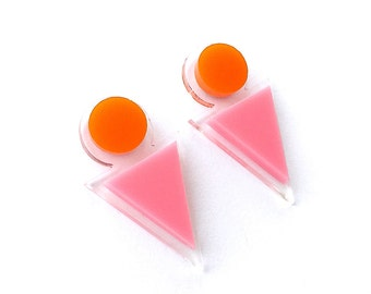 Back Me Up Studs - Laser Cut Acrylic Earrings - Sunset - Each To Own