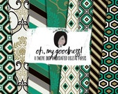 Modern Planner Digital Paper Patterns in a fun mix of green jewel retro damask and clean color for small cu like printed stickers and cards