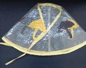 RESERVED - Vintage Retro Mod Rain Hat - Felt Umbrellas Chin Ties  -  Chic Stylish Rain Gear - Costumes - Vogue Womens Fashion Accessories