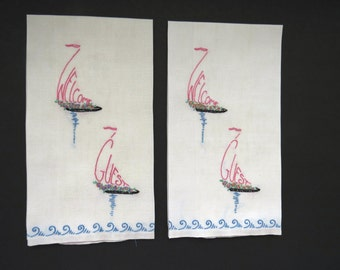 Welcome Guest Sailboats Hand Towels - Pair Hand Embroidered Towels - Nautical Theme Ships - Guest Bathroom Home Decor - Hostess Shower Gift