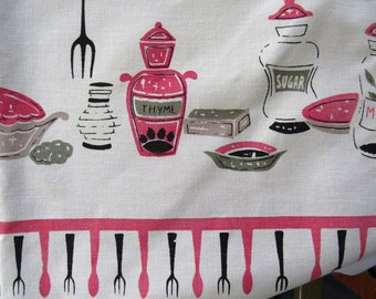 Vintage Retro Pink and Black Kitchen Tablecloth 1950s Mid Century Modern Dishes Utensils Food Breakfast Cooking Theme Gift