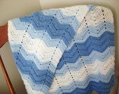 Blue and White Waves Baby Afghan Blanket Crocheted Ready to Ship