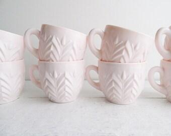 Set of 8 Vintage Jeannette Shell Pink Milk Glass Cups