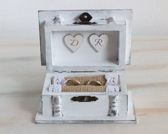 Personalized Ring Box Birds Wedding Box Ring Bearer Box We Do Wedding Ring Box White Ring Box Burlap / Lace Wedding Box Engagement Ring Box