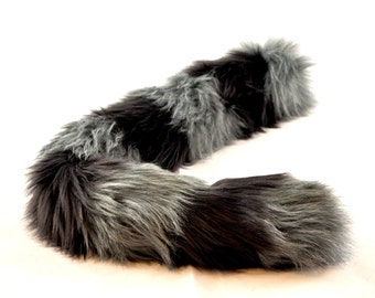 Gray Cat Tail with Black Stripes Faux Fur Kitty Tail