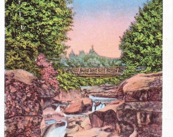 White Mountains, New Hampshire, Upper Falls, Ammonoosuc - Linen Postcard - Unused (A5)