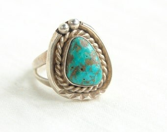 Chunky Turquoise Ring Size 7 Vintage Southwestern Sterling Silver Boho Jewelry Blue Western