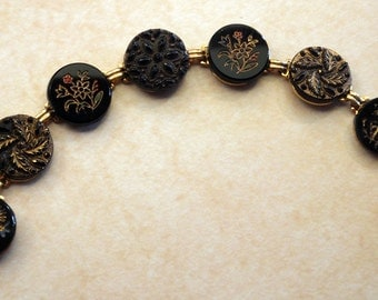 antique black button bracelet