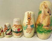 Vintage Bunny Rabbit Matryoshka Nesting Doll - Wooden Vintage Easter Home Decor