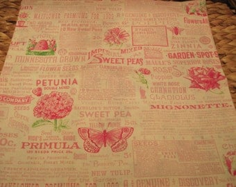 """14"""" x 14"""" Cotton Pillow Cover - Every Gardener Needs Honey Bees Seed Packets in Cotton Candy Bubblegum Pinks"""