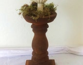 Vintage Wooden Turned Candle Holder Pedestal