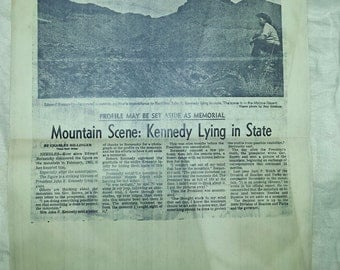 1960's reprint Article JFK's Profile in Mountain Oddity before Assassination