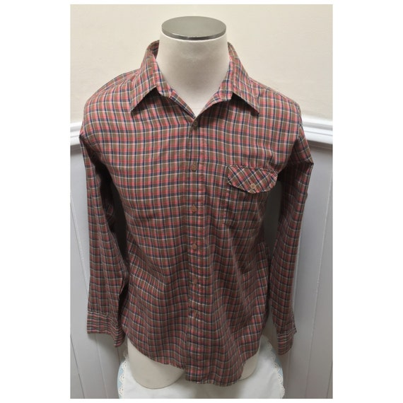 Long Foyer Xl : Vintage s gimbels brown red plaid long sleeved shirt xl