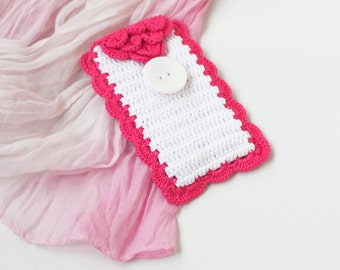 SALE White and hot pink phone case Cell phone cover Crochet accessory