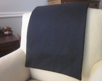 "Headrest Chair Protector or Cover, Black Cotton Fabric, 30"" x 14"", Recliner/Chair/Sofa Head Rest Cover, Antimacassar"