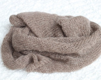 Brown Mohair  Knitted Wrap,New Born Knitted Wrap