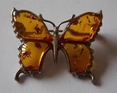 Silver Amber Butterfly Brooch Pin - PRETTY