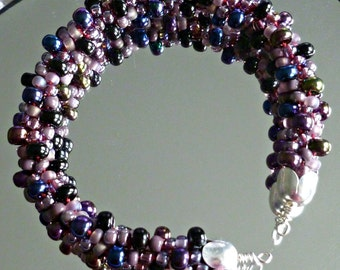 Jeweltone blue/purple beaded Kumihimo cuff bracelet