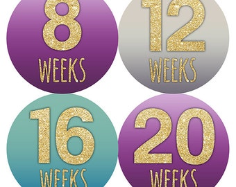 FREE GIFT Pregnancy Stickers, Weekly Pregnancy Stickers, Baby Bump Stickers, Belly Bump Stickers, Pregnancy Belly, Glitter Teal Purple Gray