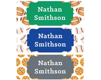 Name Labels, Sports, Boy, Waterproof, School Name Labels, Daycare Name Labels, Baby Bottle Labels, Sports, Baseball, Football, Basketball