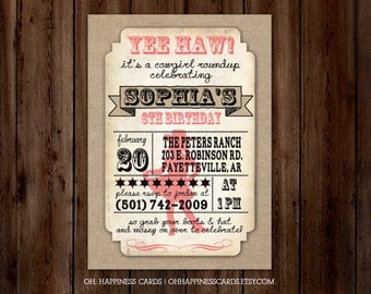 Rustic Cowgirl Birthday Party Invitation // Digital or Printed (FREE SHIPPING!)