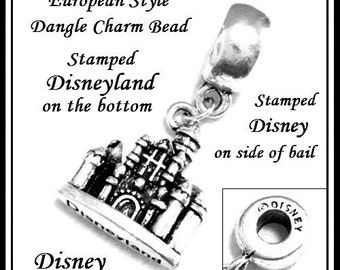 Disney ~ Sleeping Beauty CASTLE ~ Stamped DISNEYLaND on bottom w Logo ~ Antique Silver Plated Dangle Charm Bead ~ fit European Bracelet - MD