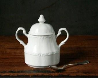 English ironstone sugar bowl, J & G Meakin, vintage ironstone